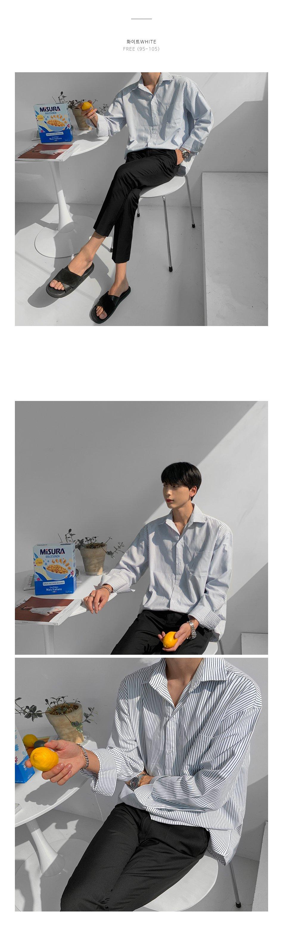 KOREALINE搖滾星球 / 英倫風條紋牛津襯衫 / 2色 / FD1119912
